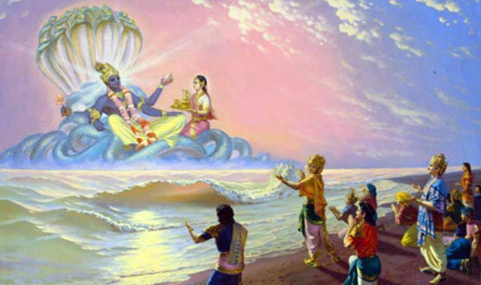 Devas pleading with Vishnu