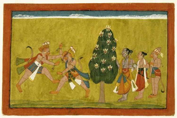 Ramayana - Vali Sugriva fight and Rama behind a tree.jpg